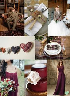 #Burgundy and #Tweed #Wedding Styling Mood Board from The Wedding Community
