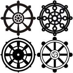 Narrowing down which style of Dharma Wheel I want for my hand tattoo.