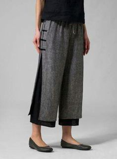 Cotton Pants Plus Size Casual Wide Leg Linen Pants- JustFashionNow Loose Pants, Cropped Pants, Wide Leg Pants, Ankle Pants, Miss Me Outfits, Plus Clothing, Layered Clothing, Womens Linen Clothing, Outfits Damen