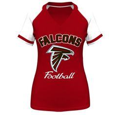 Atlanta Falcons Majestic Womens Plus Size Go For Two IV V-Neck T-Shirt – Red