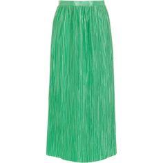 Tibi Plissé Skirt ($595) ❤ liked on Polyvore featuring skirts, calf length skirts, midi skirts, green skirt, mid-calf skirts and tibi skirt