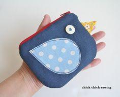 chick chick sewing: Kotori zipper pouch 小鳥のポーチ