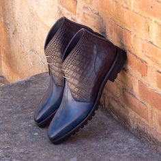 Handcrafted Custom Made Chukka Boots in Navy Blue Painted Calf with Black Croco Embossed Calf Leather From Robert August. Create your own custom designed chukka boots. Custom Made Shoes, Custom Design Shoes, Navy And Brown, Navy Blue, Bespoke, Velvet Slippers, Mens Fashion Shoes, Shoes Men, Men's Fashion
