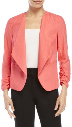xoxo Coral Linen Open Front Blazer, coral peach, salmon pink, pantone blooming dahlia Color Trends 2018, 2018 Color, Dahlia, Pantone, Salmon, Coral, Peach, Blazer, Pink