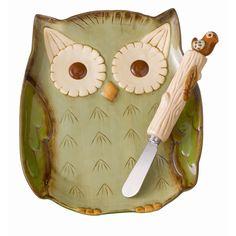 Grasslands Road™ Crimson Hollow Owl Plate and Bird Spreader #VonMaur