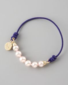 Elastic Pearl Bracelet, Purple by Majorica at Neiman Marcus.