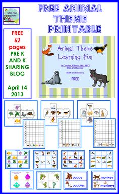 Free Animal Theme Learning Printable by Carolyn from Wise Owl Factory at PreK + K Sharing