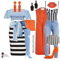 Perfect combination of stripes and denim. These outfits look good if you're shopping , out on a date, or enjoying a night with your girlfriends. Fashion Mode, Cute Fashion, Look Fashion, Autumn Fashion, Womens Fashion, Mode Outfits, Fall Outfits, Fashion Outfits, Summer Outfits