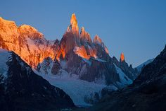Alpenglow and Jagged Shadows on Cerro Torre