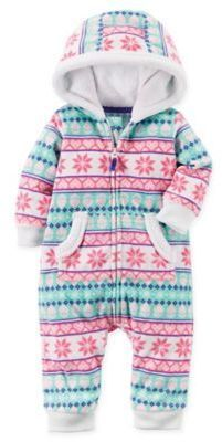 cc06df244074c Carter s Newborn Fair Isle Fleece Hooded Romper in Pink Baby Girl Closet