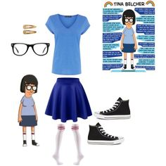 Tina Belcher by onceuponamersuperwholock on Polyvore featuring polyvore, fashion, style, Warehouse, Converse, Muse and France Luxe