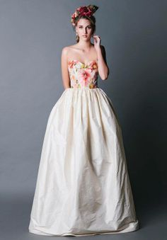 floral bustier wedding dress