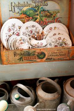 Vintage Reliable Seeds Box with Staffordshire Bouquet transferware and watering cans in Potting Shed | homeiswheretheboatis.net