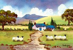 Original Watercolour Hillside Cottage in The Brecon Beacons Pen Y Fan with sheep Gift Wall Art by Pamelajonesartstudio on Etsy https://www.etsy.com/listing/224932489/original-watercolour-hillside-cottage-in