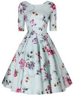 Liana Pastel Mint Roses Flare Dress