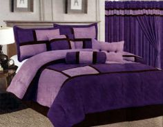"""7 Pcs Micro Suede Patchwork Bed In A Bag Comforter Set Queen Purple by AHF. $61.16. 1 Pc Queen Size Comforter (86"""" x 86""""). 1 Pc Breakfast Pillow , 1 Pc Neckroll. 1 Pc Square Cushion. 2 Pcs Standard Pillow Shams (20"""" x 26""""). 1 Pc Bedskirt (60"""" x 80"""" + 14"""" Drop). BRAND NEW @ Beautiful 7 Pcs Contemporary Micro Suede Bed In A Bag Comforter . This is a very attractive comforter set.  This comforter set will give your room a new look!      Style#: 9904     Condition: B..."""