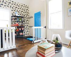 sweet home chicago Diy Dog Gate, Diy Gate, Diy Baby Gate, Baby Gates, Extra Wide Baby Gate, Diy Kitchen Shelves, Toddler Rooms, Home Projects, Office Den