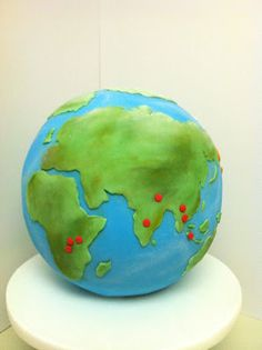 This weekend I went to a farewell party for one of my friends, Scott. He will be traveling to 11 countries in 11 months to volunteer with a. Globe Cake, New Cake, 3d Cakes, Pastry Cake, Pretty Cakes, Let Them Eat Cake, Birthday Cakes, Barefoot, Shower Ideas