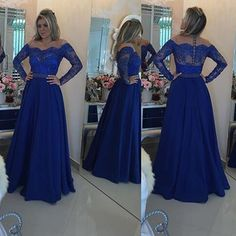 A130 long sleeve scallope back zipper royal blue lace long sleeve cheap chiffon evening dress, long sleeve evening dresses