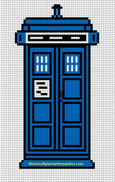 Minecraft Pixel Art Templates: The Tardis (Doctor Who) -- Pixel art aka knit/crochet/cross stitch pattern.