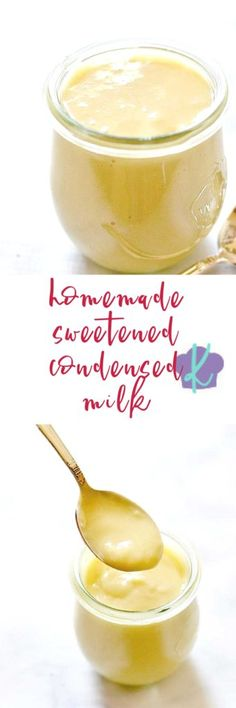 Have you ever wondered how to make homemade sweetened condensed milk? This recipe is super simple, uses only four ingredients, and produces a made from scratch sweetened condensed milk that you can use in baking, ice cream, hot chocolate and more! | sweetened condensed milk | condensed milk | recipes for condensed milk | how to make sweetened condensed milk | homemade sweetened condensed milk || Kitchen Meets Girl