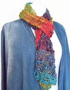 Multi coloured hand knit scarves handmade by HanoverMerryMakers