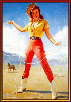 Vintage cowgirl. #Elvgren girls need to do their room in vintage cowgirl