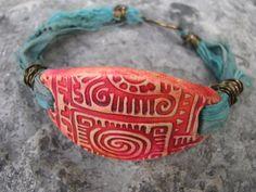 Mixed Media Polymer Clay Large Tribal Focal Bead With Blue Sari Ribbon