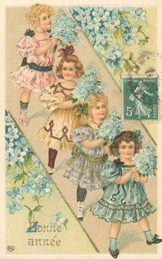 Bonne Annee! Wonderful vintage card with four girls!!
