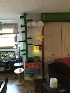 Super Mario inspired built in cat tree Or you could build kids room shelves