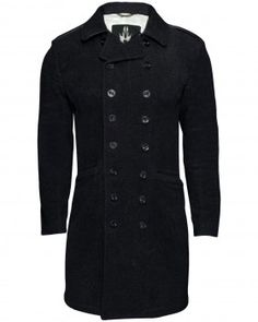 This long woollen coat features a double breasted fastening, two flap pockets and a belted detail at the back.