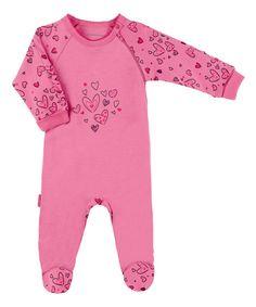 Pink I Heart You Side-Zip Footie - Preemie & Infant