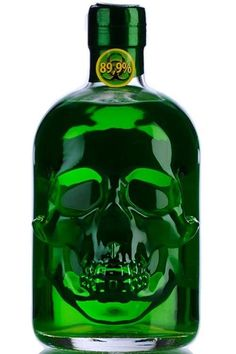 Not only the unusual shape of its bottle, also its extraordinary, bitter taste, makes this absinthe something special. With its alcohol strength, this Absinthe is strong! Alcohol Bottles, Liquor Bottles, Tequila Bottles, Green Fairy, In Vino Veritas, Skull And Bones, Bottle Design, Skull Art, Green Colors