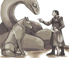 Loki- with his children Fenrir the Wolf, Jormungandr the Great Serpent, and Hel. Just missing Sleipnir.