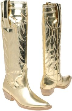There is nothing wrong with gold cowboy boots ; Gold Boots, Metallic Boots, Black Leather Ankle Boots, Brown Ankle Boots, Suede Ankle Boots, Shoe Boots, Metallic Gold, Cowgirl Boots, Western Boots