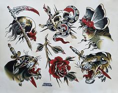 Tattoo Flash and Paintings Traditional Tattoo Leg Sleeve, Traditional Tattoo Man, Traditional Tattoo Old School, Traditional Japanese Tattoos, American Traditional, Traditional Design, Full Leg Tattoos, Leg Tattoo Men, Old Tattoos