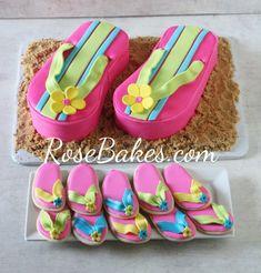 Pink Flip Flops Cake and Flip Flops Cookies | http://rosebakes.com #cake