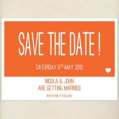fun celosia orange Save the date card, £1.20, #savethedate