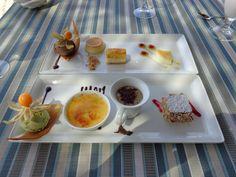 "Postre Marea (""peach panna cotta with maracuja sauce"", ""millefeuille of arequipe and coco"", ""café surprise"", ""créme brûlée of vanilla"", ""flan"", ""pistaccio icecream"", ""chocolate icecream"" and ""cheesecake"") @ Restaurant Marea by Rausch"