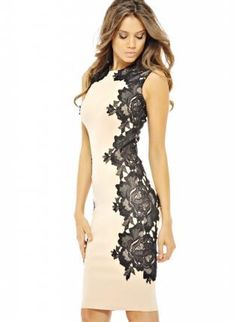 Cream Sleeveless Midi Dress with Black Side Lace Detail, Dress, bodycon dress lace dress, Chic