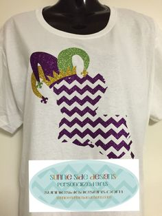 White Short Sleeve Unisex T-Shirt with Glitter Design - Louisiana and Jester Hat.   Can add name or Happy Mardi Gras to the shirt