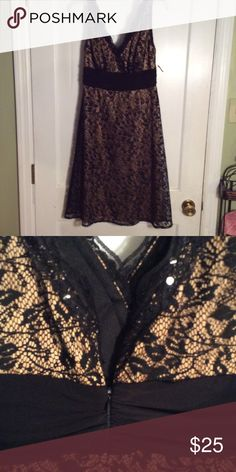 Dress V-neck front and back, nice black cumber bun waist, this lace dress is an absolute beauty! A+ shape! S.L. fashions Dresses Midi