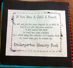Kindergarten Memory Books                                                       …