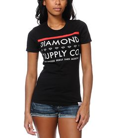 """Make your boyfriend jealous when you're sporting the Roots t-shirt from Diamond Supply Co The Roots slim fit crew neck t-shirt features a custom """"Diamond Supply Co"""" graphic that has a series of small Diamond logos at front along with """"Los Angeles"""", """"B"""