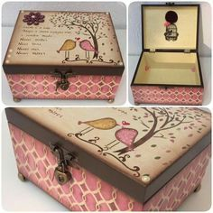 Wood box vintage 39 Ideas for 2019 Decoupage Box, Decoupage Vintage, Cigar Box Crafts, Altered Cigar Boxes, Foto Transfer, Jewellery Boxes, Painted Boxes, Vintage Box, Wood Boxes
