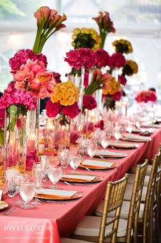 Elevated bouquet centerpieces as long table decor. Reception Table, Reception Decorations, Event Decor, Table Decorations, Banquet Tables, Floral Centerpieces, Wedding Centerpieces, Floral Arrangements, Wedding Tables