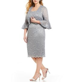 746f259215d Alex Evenings Plus Size Glitter Lace Bell Sleeve Jacket Dress