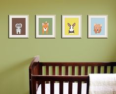 Woodland nursery art. nursery prints of forest critters for baby  kids by WallFry