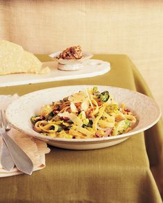 Fettuccine with Brussels Sprouts Leaves, Brown Butter, and Toasted Walnuts Recipe | Martha Stewart