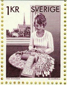 Svenskt frimärke Lace Art, Lacemaking, Bobbin Lace, Stamp Collecting, Postage Stamps, Beach Mat, Graphic Art, Outdoor Blanket, Sketches